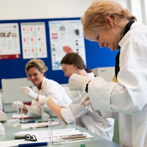 Students and lecturer analyse evidence in the forensics lab
